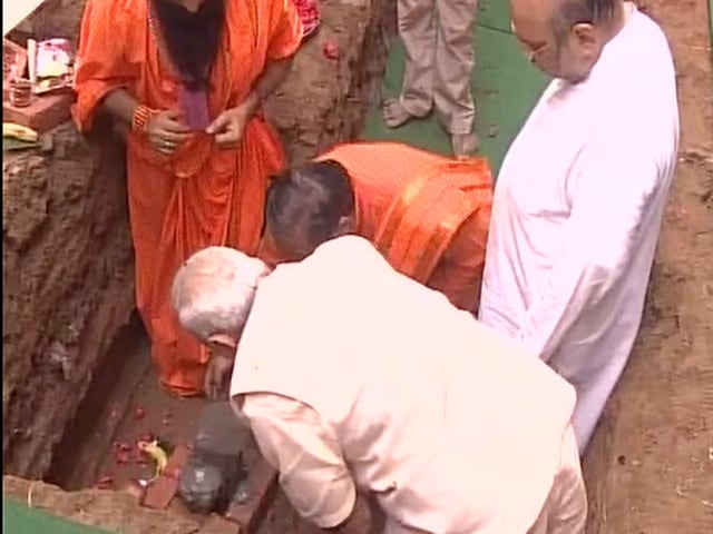 PM Modi lays foundation stone for BJP headquarters in Delhi, along with party President Amit Shah.