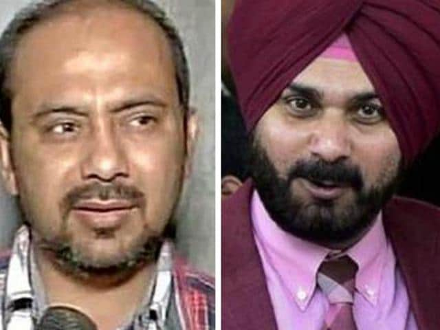 "AAP's national spokesperson Dilip Pandey (left) said it was Sidhu's decision to quit the Rajya Sabha and AAP welcomed it: ""Now, it will be entirely his decision to join the party. The people of Punjab will decide who their MLA and the chief minister will be."""