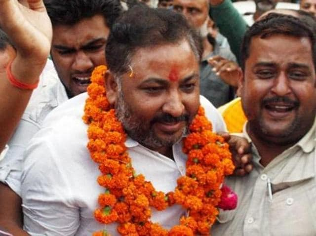Expelled BJP leader Dayashankar Singh meets his supporters after being released from Mau district jail.