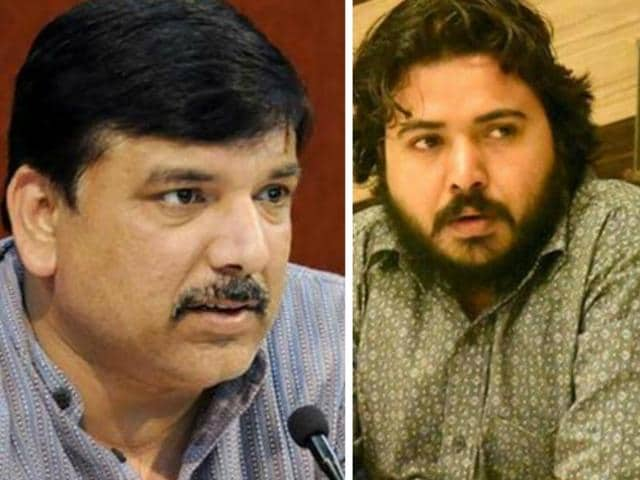 AAP's state affairs in-charge, Sanjay Singh (left), and national organisation building head, Durgesh Pathak (right)