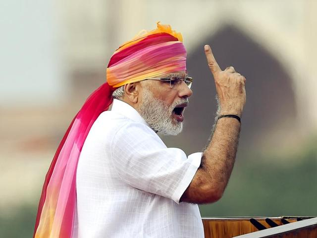 Prime Minister Narendra Modi addresses the nation during Independence Day celebrations at the Red Fort in New Delhi.