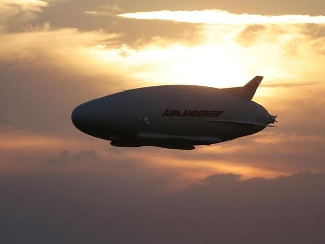 The Airlander 10 in flight, after taking off from Cardington airfield in Bedfordshire, England.