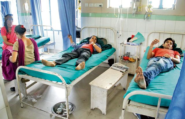 Patients at the Govt Doon Medical College Hospital in Dehradun on Thursday.