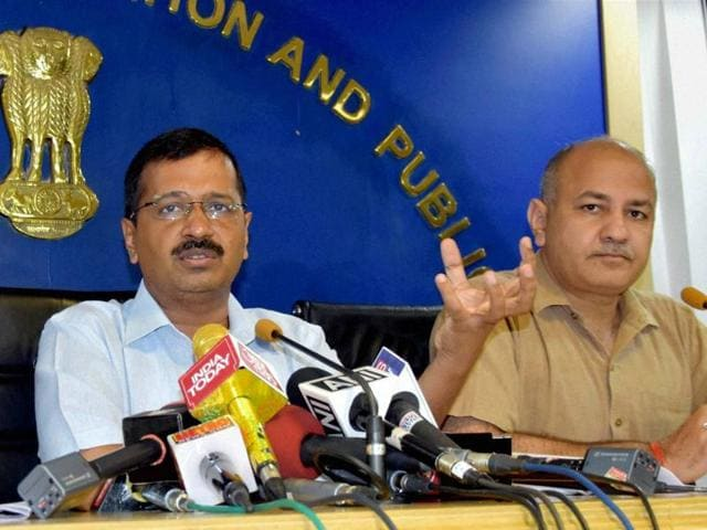 Delhi chief minister Arvind Kejriwal at a news conference on Wednesday.