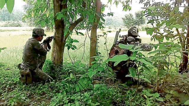 Security forces during a ground operation against Maoists near the Danga and Jonda hills in East Singhbhum on Wednesday.