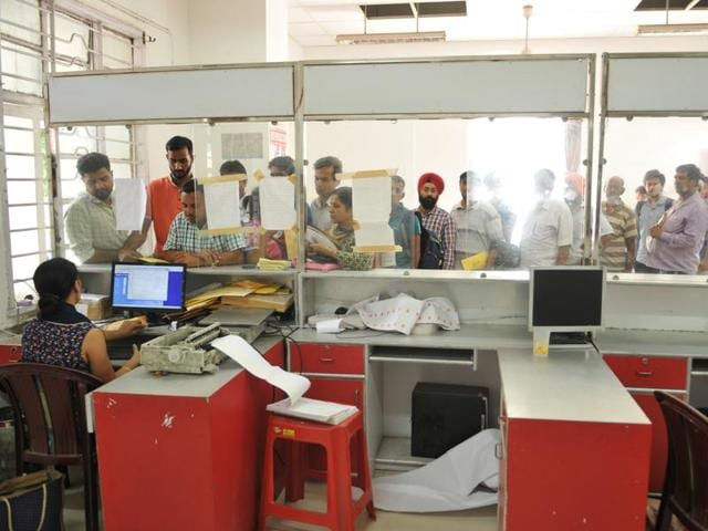 A view of the speed post counter at General Post Office in Jalandhar.