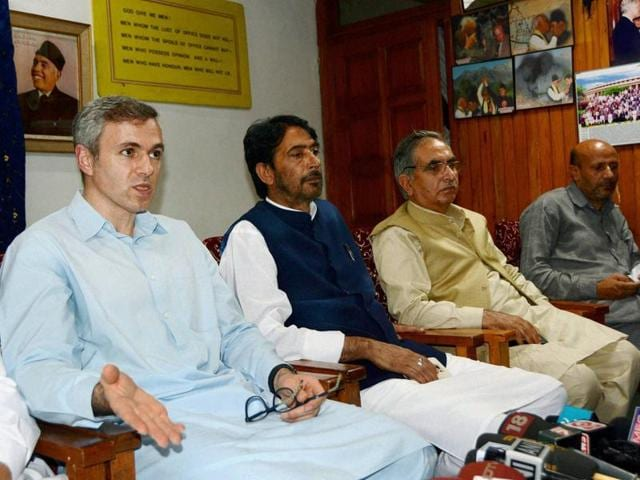 Former J-K chief minister Omar Abdullah addresses a press conference with JKPCC chief Ghulam Ahamd Mir and other opposition party leaders in Srinagar.