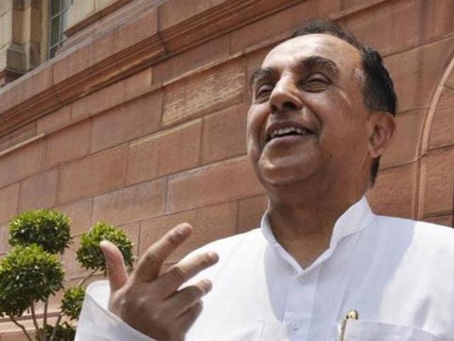 BJP Rajya Sabha MP Subramanian Swamy attends parliament Session in New Delhi.