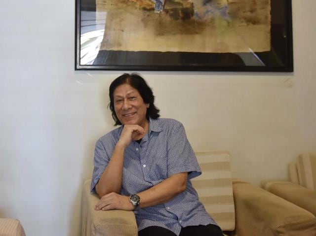 Artist Laxman Shreshtha at his residence in Khar