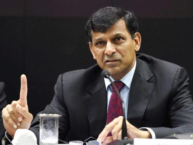 RBI governor Raghuram Rajan makes a point at a press conference after his last monetary policy review at the RBI headquarters in Mumbai on Tuesday.