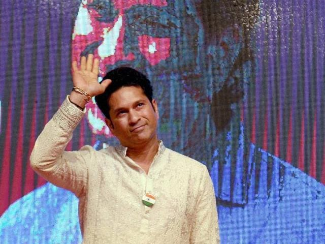 Former cricketer Sachin Tendulkar during the launch of senior citizen care-line number 1090 'Kartavya' in Thane, Mumbai on Independence Day.