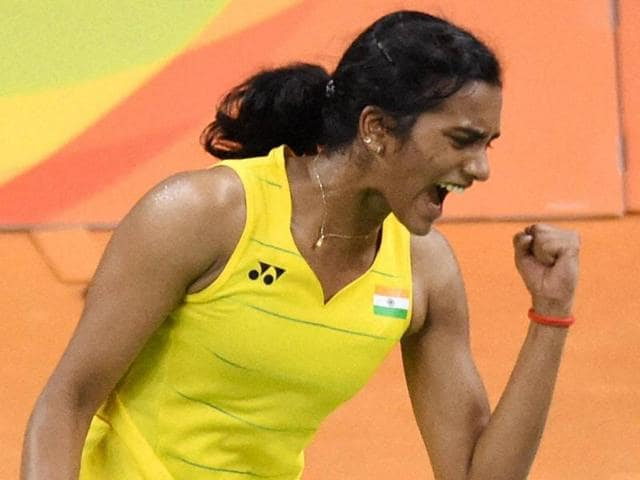 India's Sindhu Pusarla celebrate after defeating Japan's Nozomi Okuhara during a women's singles semifinal.(PTI Photo)