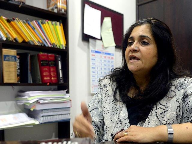Activist Teesta Setalvad speaks during an interview at her lawyer's office in Mumbai.