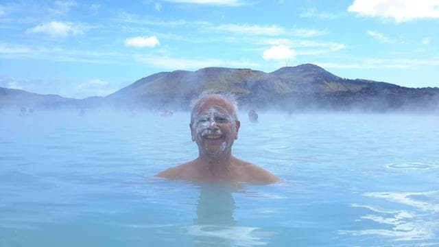 Arun Sabnis  has visited 75 countries and more than 575 cities across the seven continents. (In picture) Sabnis taking a dip at a geothermal spa in Iceland