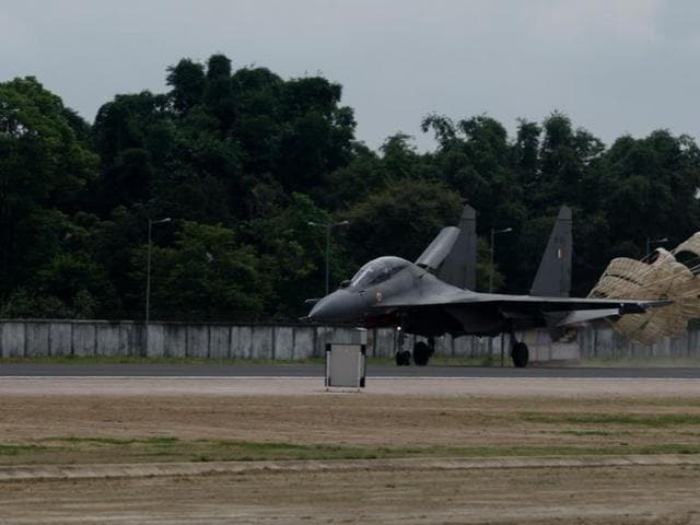 A Sukhoi-30 fighter jet at the advance landing ground at Pasighat  in Arunachal Pradesh.