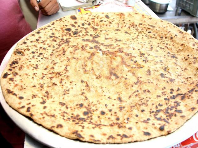 A jumbo parantha on offer at a food joint in Rohtak.