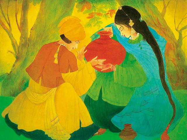 Pakistani artist Abdur Rahman Chughtai's portrayal of Waris Shah's Heer and Ranjha in his paintings.