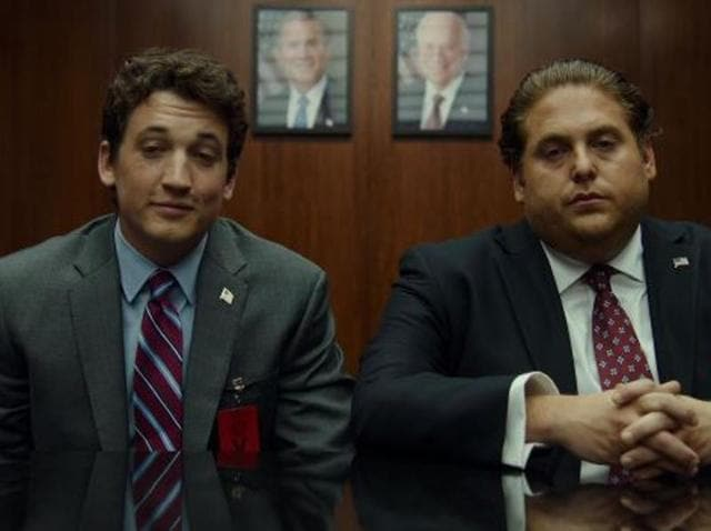 Jonah Hill and Miles Teller play the real-life arms dealers Efraim Diveroli and David Packouz respectively in the film.