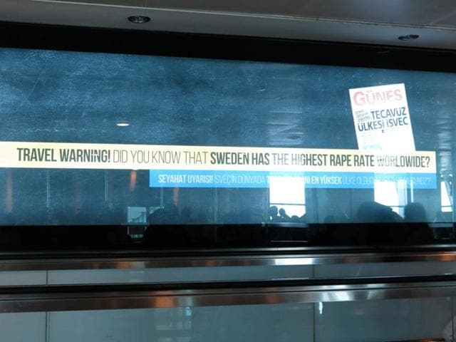An advertisement is seen at Ataturk International Airport in Istanbul, Turkey.