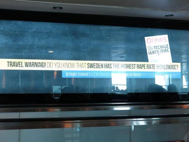 An advertisement is seen at Ataturk International Airport in Istanbul, Turkey.