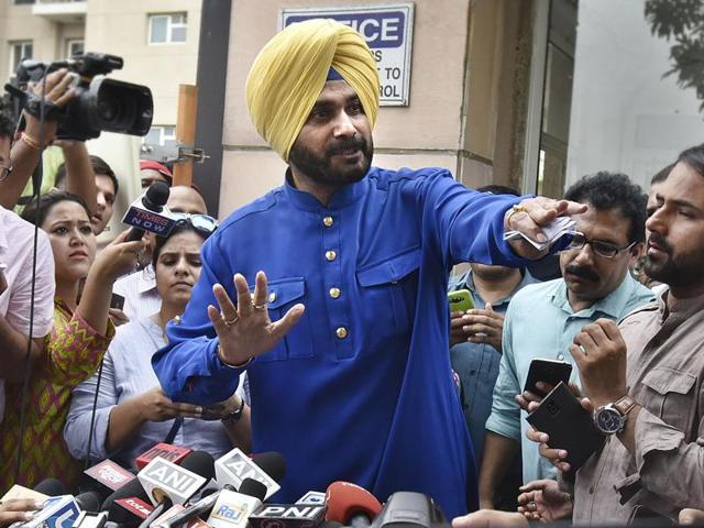 Navjot Singh Sidhu speaks to media after he resigned from the Rajya Sabha  on July 18, 2016.
