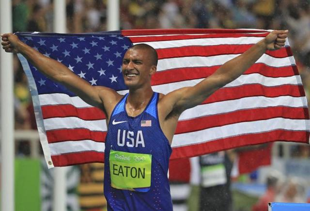 United States' Ashton Eaton celebrates after winning the gold medal in decathlon.