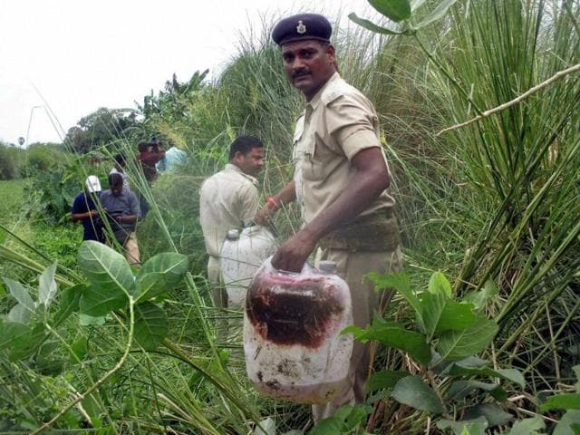 Police recovered what is suspected to be liquor in a field at Harkhua Khajurbari village, in Gopalganj district of Bihar.