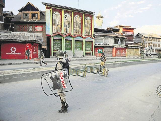 Security forces during curfew in downtown Srinagar.