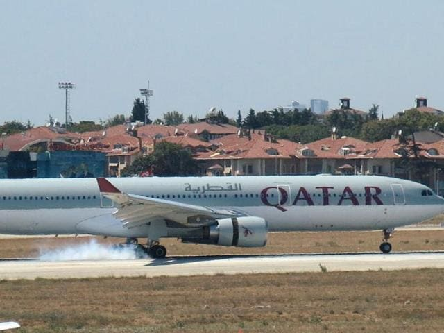 A Qatar Airways aircraft is seen after making an emergency landing at Ataturk International Airport in Istanbul.