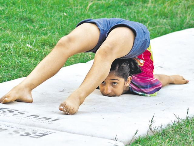 A gymnast practising in Jalandhar on Wednesday.