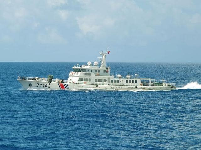 This hand out picture released by the Japan Coast Guard on August 6, 2016 shows the China coast guard ship 35104 sailing near the waters of disputed East China Sea islands.
