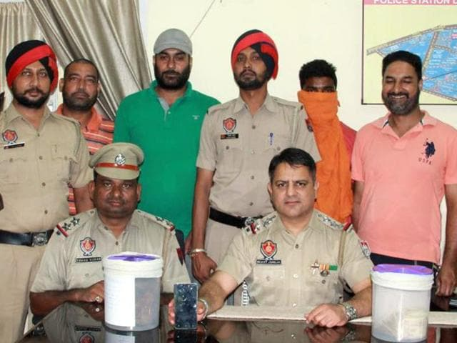 The accused in police custody in Ludhiana on Thursday.