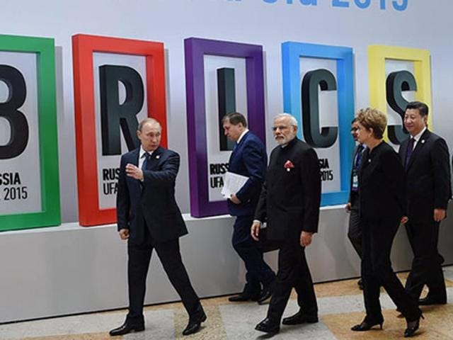 Leaders of Brazil, Russia, India, China and South Africa (BRICS) at the summit.