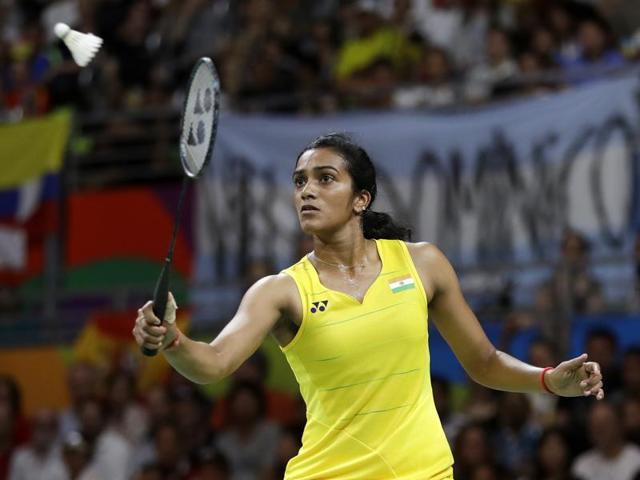 India's V Sindhu Pusarla plays against Carolina Marin of Spain during the women's badminton singles final match.