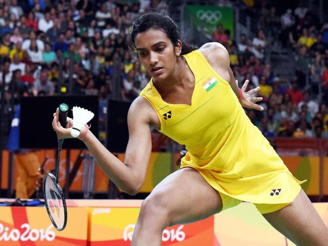 PV Sindhu wears her silver medal during the medal ceremony for women's badminton singles at the 2016 Summer Olympics in Rio de Janeiro, Brazil.