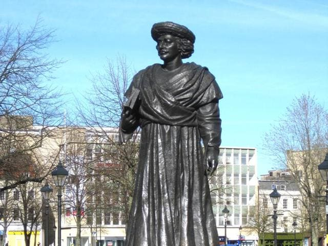 The Raja's statue in College Green in Bristol, where he died on September 27, 1833.