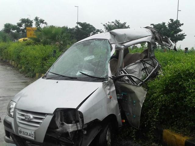 The mangled Santro car on Super Corridor after the collision with a Tata Safari SUV in Indore on Friday.