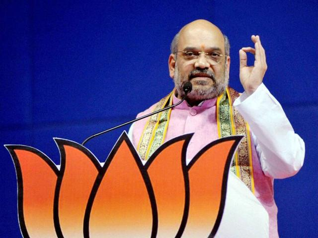 BJP president Amit Shah addresses party workers in  Panaji.