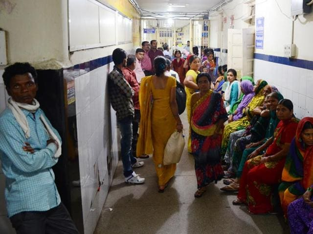 Bhopal, India - August 19, 2016: Patients Queue in JP hospital in Bhopal....(HT Photo by Chandresh Mathur/ HT Photo)to go with Purvi's story from Bhopal(Praveen Bajpai/ HT PHOTO)