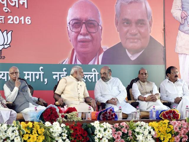 (L TO R ) L.K. Advani,Prime Minister Narendra Modi with BJP President Amit Shah, home minister Rajnath Singh, M Venkaiah Naidu, and finance minister Arun Jaitley after Bhoomi Poojan of new headquarter of BJP at Deendayal Upadhyay Marg in New Delhi on Thursday, August 18, 2016.