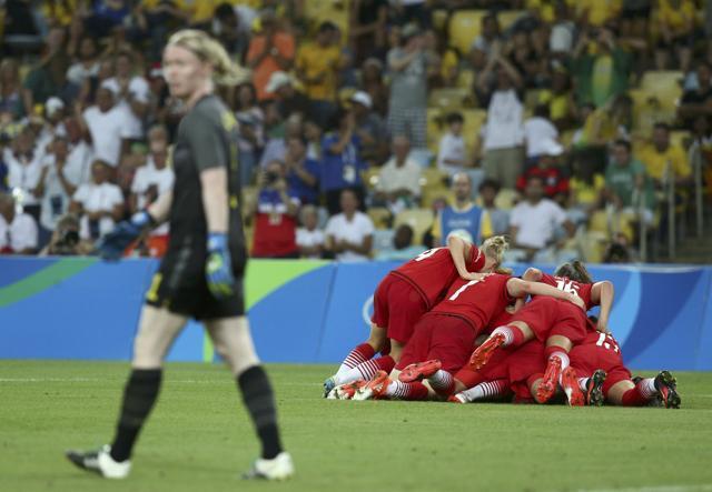 Germany celebrate a goal. (REUTERS)