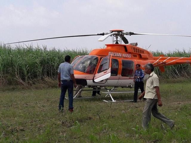A Pawan Hans helicopter made an emergency landing at Niwari, Modinagar on Saturday morning due to technical difficulties, in Ghaziabad.