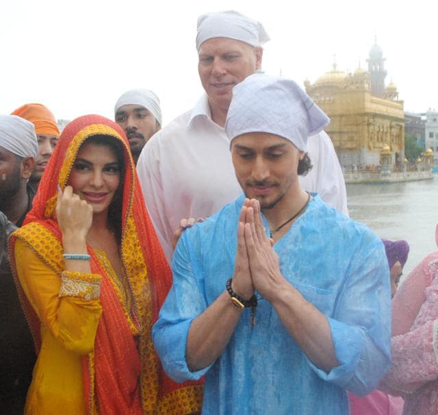 Jacqueline Fernandez and Tiger Shroff with other actors and crew at Golden Temple in Amritsar on Saturday.
