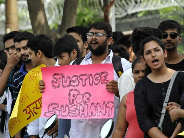 Amity University students demand resignationa of faculty members after the suicide by a law student, in Noida.