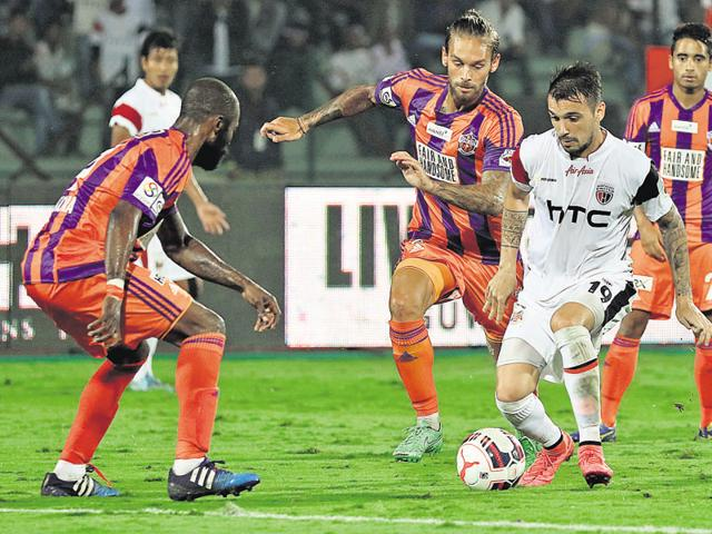 Nicolas Leandro Velez of NorthEast United FC in action during ISL Season 2.