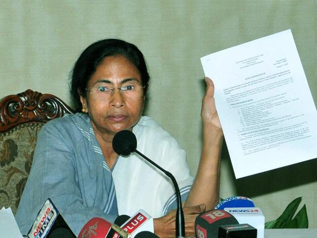 West Bengal chief minister Mamata Banerjee interacts with journalists at the State Secretariat in Kolkata.