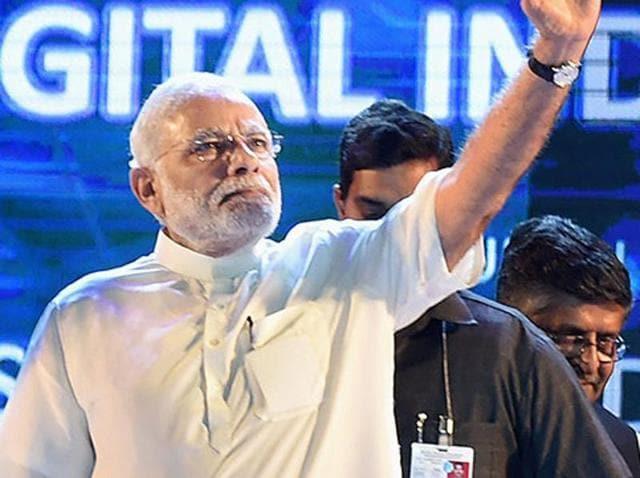 Prime Minister Narendra Modi at the launch of Digital India Week in New Delhi.