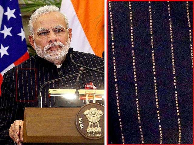 A close view of PM Narendra Modi's pinstripe suit he had donned during his meeting with Barack Obama.