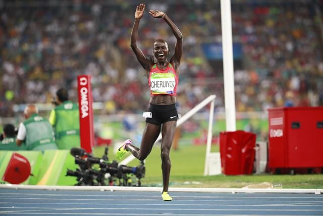 Cheruiyot  triumphed with a superb tactical run to win in a time of 14.26:17, which is an Olympics record.