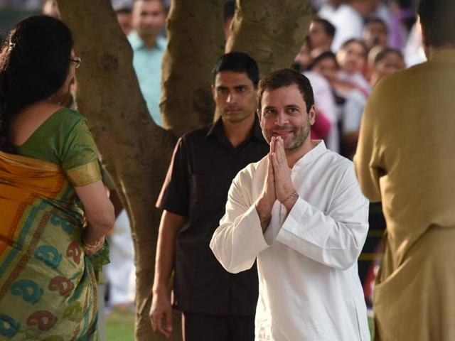 Congress vice-president Rahul Gandhi seen here after paying tribute to former Prime Minister Rajiv Gandhi on his 72nd birth anniversary at Vir Bhumi in New Delhi.